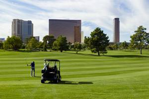 Wynn staff member A.J. Hebert plays a round of golf ...