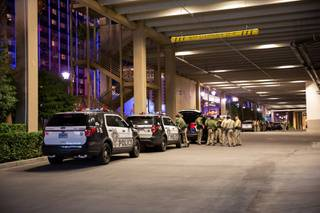 LVMPD Officer stand by in a parking structure at The Cromwell in preparation for the 2020 NYE celebration on the Las Vegas Strip, Tues. Dec 31, 2019.