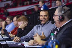 Curtis Terry, UNLV Rebels' radio analyst, covers a UNLV vs Utah State basketball game at the Thomas & Mack Center Wednesday, Jan. 1, 2020.