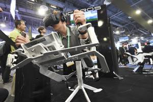 Tom Anderson tries out the ICAROS virtual reality exercise system during the first day of the Consumer Electronics Show Tuesday, January 7, 2020, at the Sands Expo Center.  (Sam Morris/Las Vegas News Bureau)