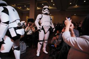 Star Wars stormtroopers walk through the audience during a Panasonic news conference before the CES tech show, Monday, Jan. 6, 2020, in Las Vegas. (AP Photo/John Locher)