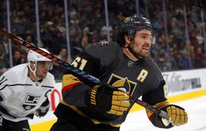 Vegas Golden Knights right wing Mark Stone (61) is followed ...