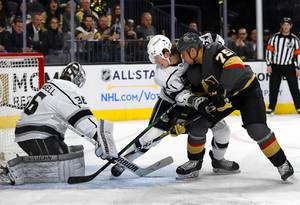 Los Angeles Kings goaltender Jack Campbell (36) blocks a shot ...