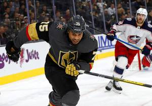 Vegas Golden Knights right wing Ryan Reaves (75) skates against Columbus Blue Jackets in the third period at T-Mobile Arena Saturday, Jan. 11, 2020.