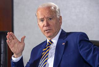 Former Vice President and Democratic presidential candidate Joe Biden responds to a question during an editorial board meeting at the Las Vegas Sun offices in Henderson Saturday, Jan. 11, 2020.