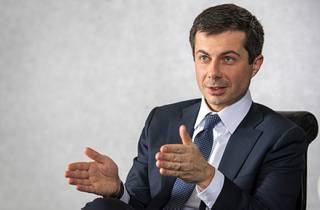 Democratic presidential candidate Pete Buttigieg responds to a question during an editorial board meeting at the Las Vegas Sun offices in Henderson Saturday, Jan. 11, 2020.