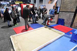 Magnetic concrete stamps are demonstrated during the World of Concrete show Tuesday, February 4, 2020, at the Las Vegas Convention Center.