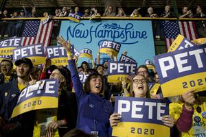 Supporters of Democratic presidential candidate former South Bend, Ind., Mayor ...