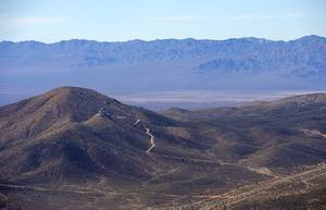An aerial view of land west of Searchlight, Nev. during a tour of a proposed national monument Wednesday, Feb. 12, 2020. A coalition of Native American tribes, conservation groups and Searchlight residents are asking Nevada's Congressional delegation to consider the establishment of a new national monument.