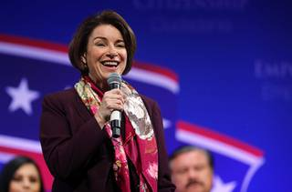 Democratic presidential candidate Sen. Amy Klobuchar, D-Minn. smiles during a League of United Latin American Citizens (LULAC) Presidential Town Hall at the College of Southern Nevada Cheyenne Campus in North Las Vegas Thursday, Feb. 13, 2020.
