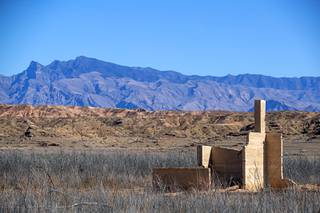 The remains of a grocery store and ice cream parlor in the town of St. Thomas in the Lake Mead Recreation Area near Overton, Nev. Thursday, Feb. 13, 2020. The town, founded by Mormon settlers in 1865, was submerged by the waters of Lake Mead but resurfaced as water levels dropped in the early 2000's.