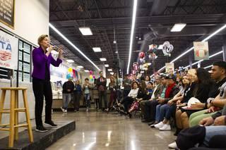 Democratic presidential candidate Senator Elizabeth Warren speaks during a Mi Familia Vota town hall at Cardenas Market, Monday, Feb. 17, 2020. (Las Vegas Sun, Yasmina Chavez)