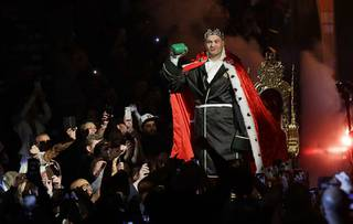 Tyson Fury, of England, arrives in the arena before a WBC heavyweight championship boxing match against Deontay Wilder, Saturday, Feb. 22, 2020, in Las Vegas.