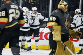 Los Angeles Kings center Anze Kopitar (11) celebrates after scoring against the Vegas Golden Knights during the first period of an NHL hockey game Sunday, March 1, 2020, in Las Vegas.