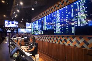 A view of the BetMGM sports book at the Park MGM Friday, March 6, 2020.