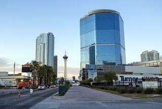 A view of The Drew Las Vegas, right, formerly Fontainebleau Las Vegas, on the Las Vegas Strip Wednesday, April 15, 2020.
