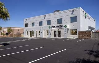 An exterior view of Top Notch THC (The Health Center) marijuana dispensary, 5630 Stephanie St., Saturday, April 25, 2020.
