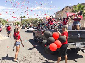 UNLV Athletics department staff members including Director of Athletics Desiree Reed-Francois and other administrators, created a caravan to honor the 65 UNLV student-athletes eligible to graduate as part of the university commencement class of 3,100 that would have been part of UNLV's spring commencement ceremonies, Saturday, May 16, 2020. The staff and coaches rolled through the valley from 9 am to 3 pm, making 20 stops and traveling more than 140 miles to honor Rebel student-athletes who were in town. (Courtesy of UNLV Athletics)