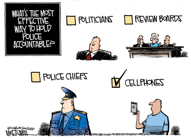 Multiple Choice Question:  What's the most effective way to hold police accountable?  Image One:  Politicians (not checked).  Image Two:  Review boards (not checked).  Image Three:  Police chiefs (not checked).  Image Four:  Cellphones (checked).