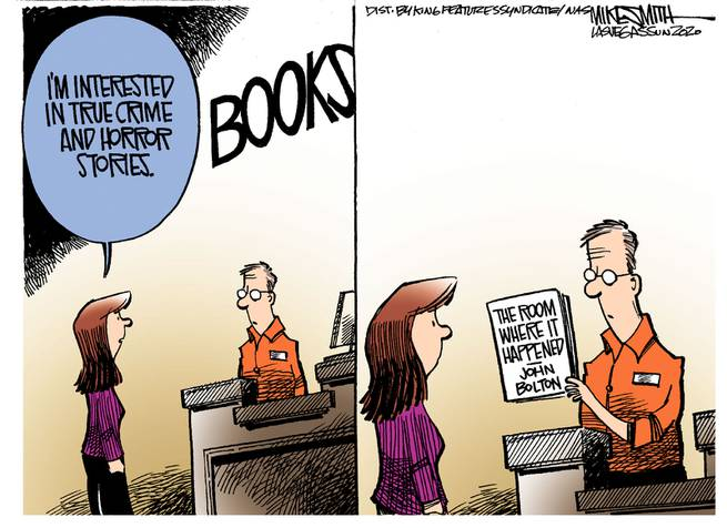 Woman says to clerk in bookstore,