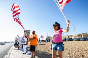 Supporters of No Mask Nevada protest in front of the Pahrump Nugget on Monday June 29, 2020, to show their disapproval of Governor Sisolak's order mandating face coverings.