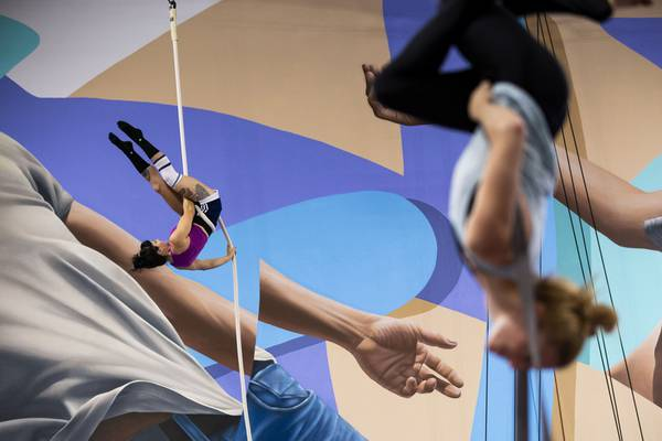 Acrobats and athletic performers stay ready at the Las Vegas Circus Center