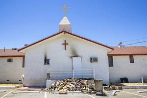 A view of the Greater Most High Church of God in Christ, near Martin Luther King Boulevard and Carey Avenue, in North Las Vegas Saturday, Aug. 1, 2020. The church's kitchen was destroyed in an electrical fire on Friday night.