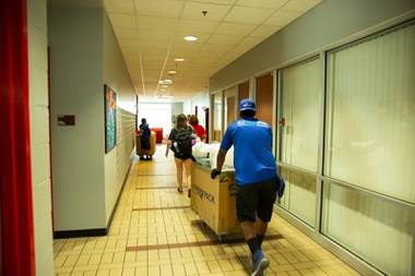 UNLV students begin to move into the dorms on campus for the fall semester, but with very specific guidelines in order to maintain social distance and safety during the COVID-19 pandemic, Tuesday Aug. 18, 2020.