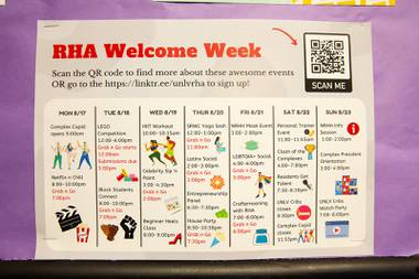 A calendar showing various socially distanced activities is posted in the hallway of one of the dorms on campus at UNLV, Tuesday Aug. 18, 2020. This year, because of the COVID-19 pandemic, UNLV has taken extra precautions in order to maintain social distance and safety for students while living on campus.