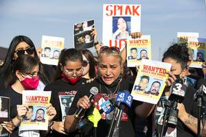 Aracely Palacio, mother of Lesly Palacio, speaks at a news conference during a fundraiser on East Lake Mead Boulevard Saturday, Oct. 10, 2020. Family members of of Lesly Palacio are trying to increase the reward money in an effort to find the people responsible for her murder.