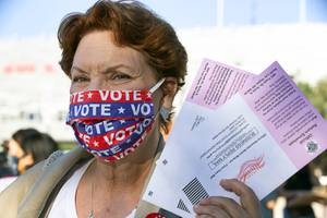 Donna West, former Clark County Democratic Party chairwoman, holds up ...