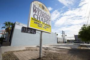 The sign and part of the foundation are all that remain of Las Vegas' oldest wedding chapel, the Wee Kirk o'the Heather Wedding Chapel, as seen here Friday, Oct. 9, 2020. The family who bought the Chapel in 1980 did not know it would be demolished when they sold it earlier this year.