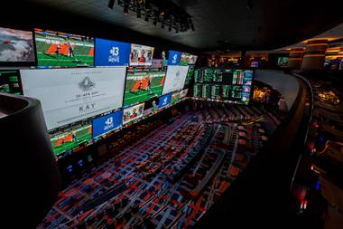 Circa Las Vegas owner Derek Stevens is sitting in the massive sports book at his new downtown property. He looks around at the bright lights, projection screens and other features and can't help soaking it all in.