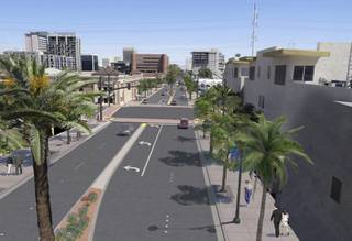 A rendering of the Las Vegas Boulevard Improvement project construction plan as seen from Las Vegas Boulevard at Gass Ave looking north.