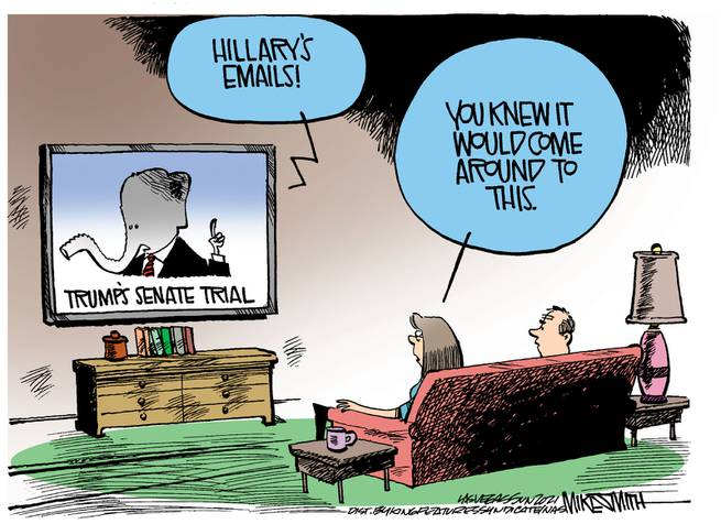 Couple watching Trump's Senate trial on television as GOP Elephant declares,