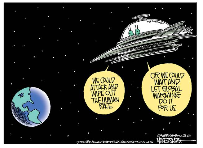 Two aliens in flying saucer look at Earth.  One says,