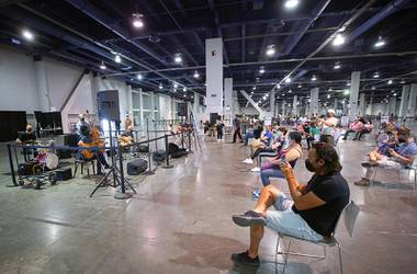 Visitors to the COVID-19 vaccine clinic at the Las Vegas Convention Center might find themselves tapping their toes and nodding their heads in the post-shot observation area. Thanks to a grant and a desire to brighten necessary but spartan spaces ...