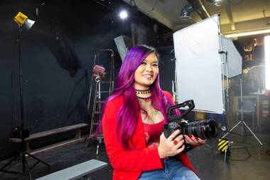 "UNLV film student Melissa Del Rosario, posing for a portrait, Tuesday, April 27, 2021, is the producer of the movie ""Take Out Girl."" Del Rosario, who graduates this month, is believed to be the first UNLV film student to sell a feature film."