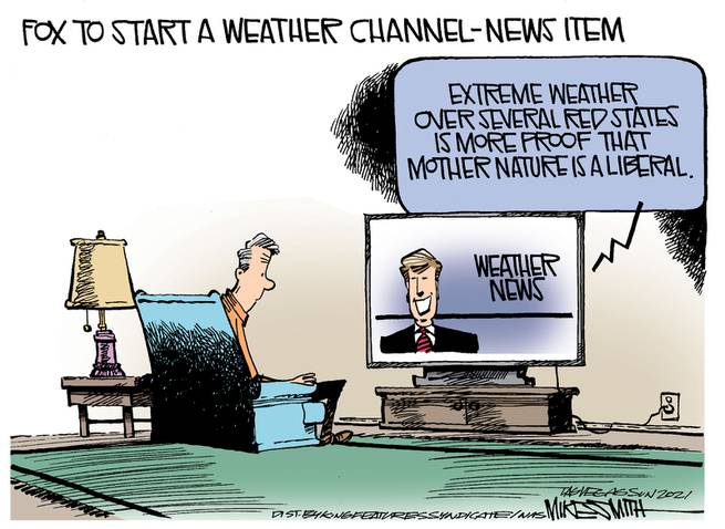 Caption:  Fox to start a weather channel.  Image:  TV weather person says,