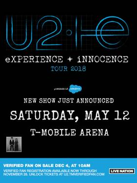 Enter to win tickets to see U2 at T-Mobile Arena - Las Vegas