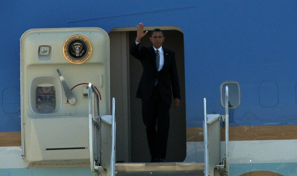 Obama Arrives in Las Vegas
