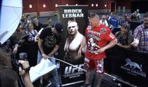 Brock Lesnar and Shane Carwin workout for the fans and meet with the media prior to their Saturday night heavyweight championship fight.