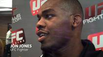 Light heavyweight championship contender Jon Jones speaks with media for the last time before his main event bout with Shogun Rua at UFC 128 in Newark, N.J. The 23-year old Jones is a 2-to-1 favorite in the fight.