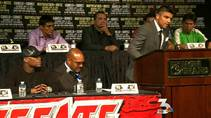 KSNV coverage of a heated press conference before Saturday's boxing match between Floyd Mayweather Jr. and Victor Ortiz, Sept 14, 2011.