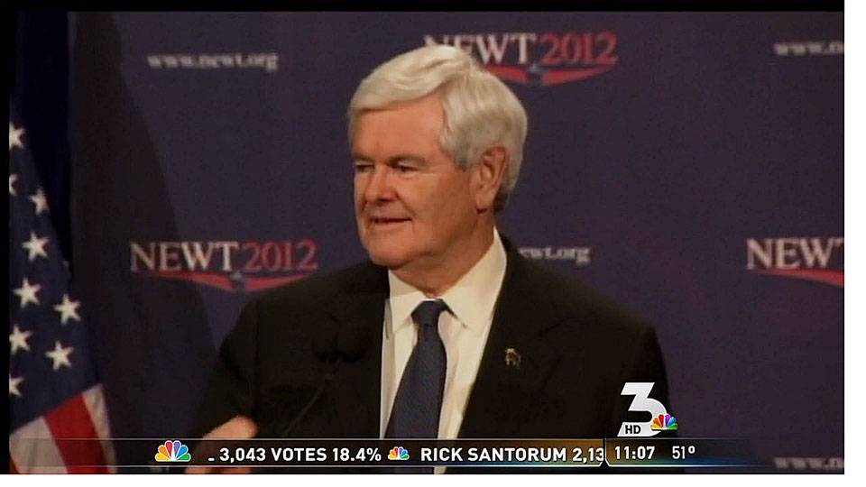 Gingrich reacts to Romney\'s victory