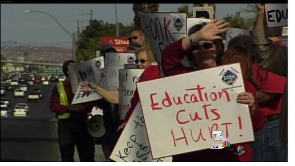 Teachers protest over budget cuts