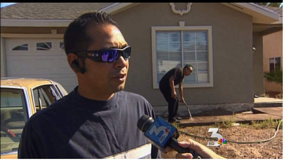Muddy water floods East Las Vegas home