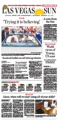 Frontpage of Las Vegas Sun newspaper on January 20, 2018