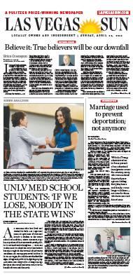 Frontpage of Las Vegas Sun newspaper on April 22, 2018