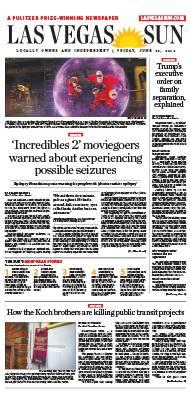 Frontpage of Las Vegas Sun newspaper on June 22, 2018